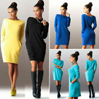 Hot Women Pockets Long Sleeve Jumper Top Ladies Bodycon Sweater Tunic Mini Dress
