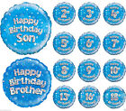 New Boys Foil Happy Birthday Blue Balloons With Holographic Stars 18 Inches