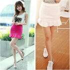 Women Sexy Summer Cotton Mini Short Flip Cute Flounce Fishtail Hip Package Skirt