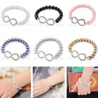 Lady's Fashion Elegant Faux Pearl Crystal Charms Infinity Chain Elastic Bracelet