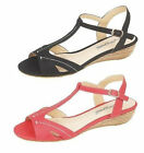 Anne Michelle L3410 Ladies Sandals Red Or Black UK Sizes 3 to 8 (R8B)