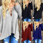 New Sexy Women Cross Lace-up Long Sleeve Tops Blouse Open Front Hoodie Tee Shirt