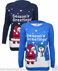 Ladies Girls Christmas Season Greeting Printed Knitted Jumper Novelty Sweater