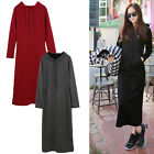 Women Winter Warm Sweatshirt Hooded Hoodie Long Fleece Lined T-Shirt Maxi Dress