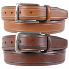 Nautica Mens Topstitched Feather Edge Genuine Leather Belt