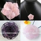 Natural Rose Quartz Gemstone Amethyst Carved Flower Bead Pendant Beauty Gift