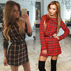 Women Plaid Tartan Print Long Sleeve Shirt Blouse Tunic Top Mini Dress With Belt