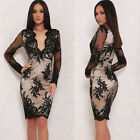 Sexy Women Deep V-Neck Floral Lace Long Sleeve Slim Party Club Bodycon Dress