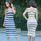 Fashion Women Sleeveless Slim Fit Casual Striped Midi-Calf Bodycon Tank Dress