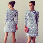 Fashion New Women Dress Star Pattern Slim Party Dresses Denim Blue Vintage Dress