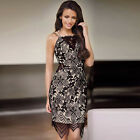 Sexy Women Floral Lace Spaghetti Strap Backless Sheath Evening Club Party Dress