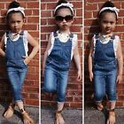 2PCS Toddler Kids Baby Girls Outfits Clothes T-Shirt Tops+Denim Braces Pants Set