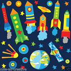 Space Rocket Ship Stars Planets Nursery Wall Stickers Kids Vinyl Wall Decals R9