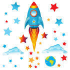 Space Rocket Ship Stars Planets Nursery Wall Stickers Kids Vinyl Wall Decals R20