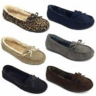 New Womens Slip On Moccasins Slipper Faux Suede Fur Loafer Indoor & Outdoor Shoe
