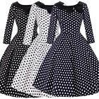 Vintage Dress 1950s 1960s Party Black/White Polka Dot Sleeve Collar Size UK S-XL