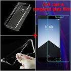 Ultra-thin TPU Gel Soft Clear Cover Skin Case +Tempered glass For Oneplus TWO 2