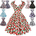 ❤XMAS dress❤Vintage 1940's Party Evening Swing Tea Dresses Housewife
