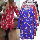 Xmas Santa Gifts Womens Ladies Long Sleeves Snowman Christmas Print Swing Dress