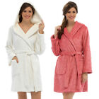 Foxbury Women's Glitter Embossed Hooded Fleece Bath Robe