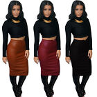 Sexy Women Punk Faux Leather Midi Calf Sheath Pencil Package Hip Skirt Clubwear