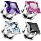 Pair 3-12mm Stainless Steel Square CZ Crystal Ear Tunnel Plug Expander Stretcher
