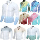 New Printed Mens Slim Fit long Sleeve Casual Dress Shirt Business T-Shirts Tops