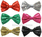 24 X SEQUIN BOW TIE DANCE SHOW GROUP MULTI PACK FANCY DRESS ACCESSORY 6 COLOURS