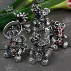 1pc Shiny Crystal Alloy Little Bear Bead Finger Ring Women Girl Fashion Jewelry