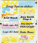 18, 36, 48 large Iron on Personalised name Label Stickers 4 school girls