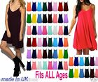 Women's Plain Cami Flared Swing Dress Long SEXY Vest Top Plus Size 6 - 24 CmiLng