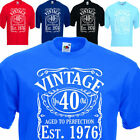 Mens Vintage Since 1976, funny 41st Birthday  / fathers Day Gift. Sizes up 5XL