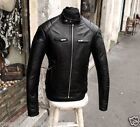 Giubbotto giacca pelle moto byker cafe racer style uomo tg XS S M L XL