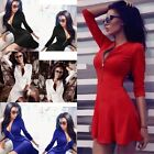 Hot Women Sexy Zip Up V-neck Shirt Dress Cocktail Casual Party Mini A-line Dress