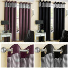Thermal Blockout Ring Top Modern Curtains With Silver Foil Horizontal Band