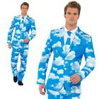 Mens Stand Out Suit Cloud Print Sky High Festival Fancy Dress Costume Outfit M-X