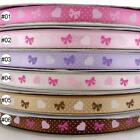 "3/8""9mm Bowknot Mixed Pink/Purple/Brown/Yellow Satin Ribbon 5 Yard High Quality"