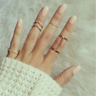 Women's Stacking Punk Rings Shiny Middle Finger Ring Set Charm Fashion Jewelry M