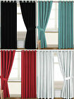New Thermal Blackout Faux Silk Ring Top Eyelet Ready Made Luxury Curtain Drapes