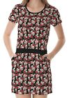 Black Skulls And Roses Pattern Women's Clothing Top Dress With Pockets