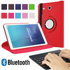 360 Rotate PU Cover Case with Bluetooth Keyboard for Samsung Galaxy Tab E T560