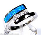 Blue Fire Opal & White Topaz Inlay 925 Sterling Silver Band Ring size 6, 7, 8, 9