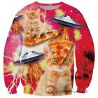 2016 Space Galaxy Animal Tiger Cat 3D Printed Hoodies Pullover Tops Sweatshirt