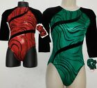 Gymnastic Foiled Velvet 3/4 Sleeve Leotard Red or Green over 20 available NWT