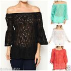 OFF or ON SHOULDER LACE BELL SLEEVE TUNIC TOP MINT WHITE CORAL BLACK S M L XL