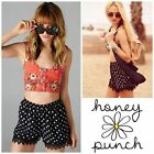 Honey Punch Boho Retro Navy Taupe Polka Dot Lace Trimmed HIGH WAIST Shorts S