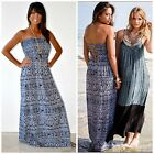 RAVIYA BOHO Denim White TRIBAL PRINT STRAPLESS MAXI DRESS CUT OUT BACK M L