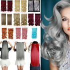 Womens ladies Half Full Head One Piece Clip In Hair Extensions Top Gray Red HG5