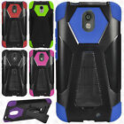 For Motorola Droid Turbo 2 Turbo Layer HYBRID KICKSTAND Rubber Case Phone Cover