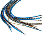 Real Feather Hair Extensions - DIY kit with rings - Blue Auburn